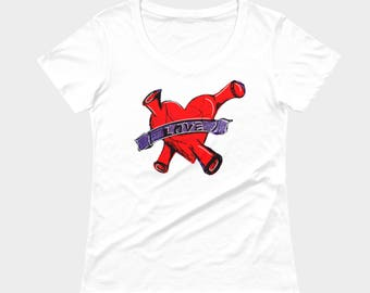 Red heart t-shirt, love tee, hand drawn, anatomical heart, white top, original drawing by Felicianation Ink