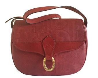 CHRISTIAN DIOR Red Vintage Leather Shoulder Bag