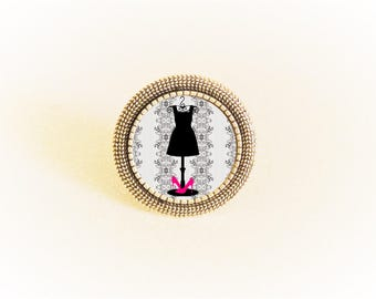 Ring silver adjustable and the little black tone dress pattern cabochon pink/gray