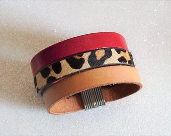 Red, beige leather Cuff Bracelet, leopard magnetic clasp