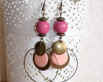 Earrings ' classy bronze dangles with powdered enamel and Pearl old pink sequin