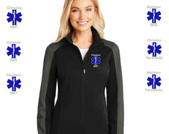 Personalized EMS EMT Paramedic Full Zip Jacket - Embroidered.  Emergency Medic Ladies Active Colorblock Soft Shell Jacket. L718