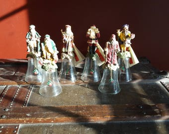Vintage 1992 Novelino Christmas Thru The Ages Santa Claus Glass Bells. Set of 6.