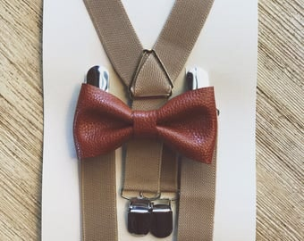 Khaki & Tawny Bow Tie Suspenders Set Ring Bearer Outfit Wedding Suspenders Baby Suspenders Boys Suspenders Baby Braces