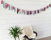 Valentine Garland // Teal Purple Pink Cream Garland // Fabric Garland // Valentine Decoration // Home Decor