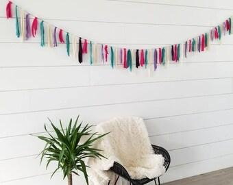 Valentine Garland // Teal Purple Pink Cream Garland // Fabric Garland // Valentine Decoration // Home Decor