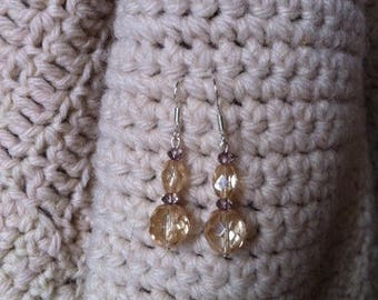 Crystal and glass in 925 sterling silver pierced earrings