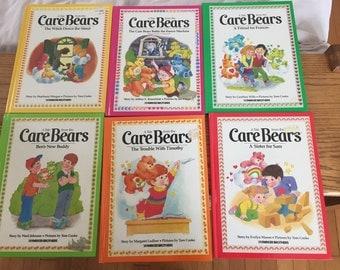 Six Vintage Care Bears Hardcover Books