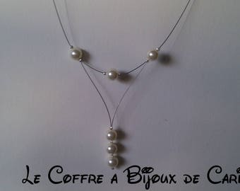 Set 4 pieces necklace earrings and chic hair Swarovski ivory pearls (Crystal or Pearl choice)
