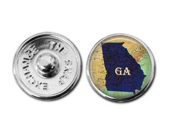 Georgia charm snap jewelry Georgia map charm snap jewelry map jewelry interchangeable jewelry Georgia charm Georgia jewelry