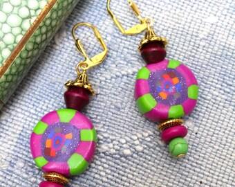 Fancy earrings, boho, Fuchsia green millefiori.