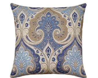SALE Kravet Ikat Pillow Cover, Tan, Cream, Denim Blue Decorative Pillow, Latika Delta Medallion Linen Throw Pillow, Kravet Wedgewood Blue Pi