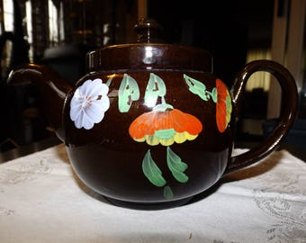 Vintage Teapot, English Teapot, Redware, Hand Painted, Made in England, Downturn Spout Teapot, Floral Teapot, 1920 Teapot, Upside Down Spout