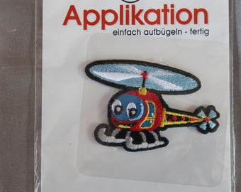 applique, helicopter, blue, craft or sewing