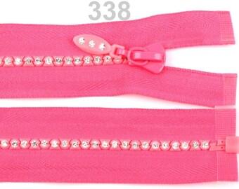 Pink zipper, mesh rhinestone separable, 50cm