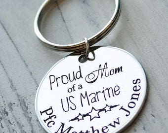 Proud Mom of a US Marine Personalized Key Chain - Engraved