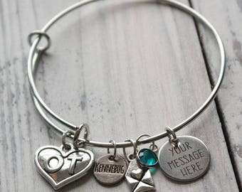 Occupational Therapist Personalized Wire Adjustable Bangle Bracelet