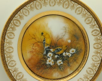 Beautiful Vintage Goldfinch Songbird Plate
