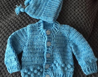 Newborn 0-3 month baby boy blue crochet cardie and hat set also for reborn doll