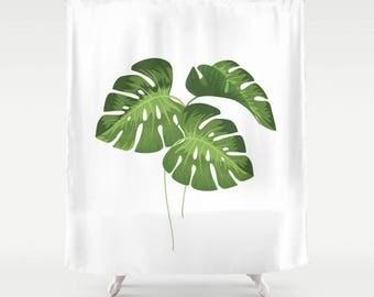 "Shower Curtain - Monstera Leaves - 71""x74"", Home, Bathroom, Bath, Dorm, Girl, Kids, Christmas, Decor, White, Green, Gift, Abstract, School"