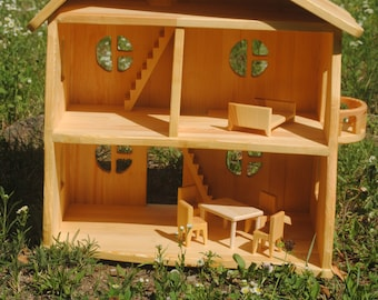 Wood dollhouse Wooden dollhouse Dollhouse Wood fairy house gnome house - Toy wooden house - handmade doll house