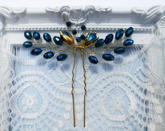 Blue wedding hair pin, navy blue wedding hair piece, bridal hair pin, blue bridal hair piece, gold hair pin, blue hair pin