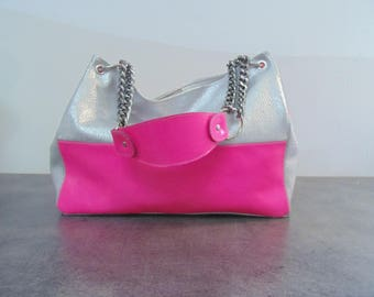 All pink and silver leather shoulder bag