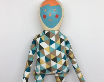 wood and fabric doll - Crazy Face
