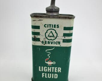 Cities Service Lighter Fluid Tin - Metal Tip with Screw on Cap -Tobacco or Cigarette Collectible