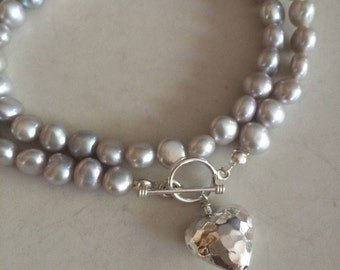 Silver Grey Freshwater Pearl necklace Sterling hammer heart toggle gray pearl necklace large grey pearl necklace Baroque Pearl jewelry gift