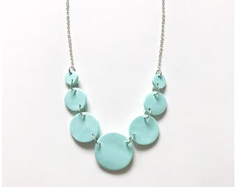 """Ice blue circle necklace - handmade with polymer clay and nickel free metal 18"""""""