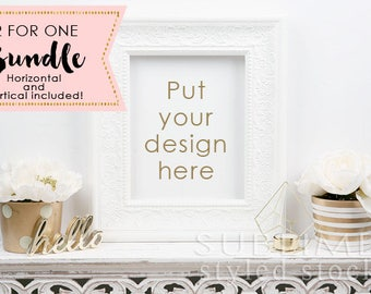 Empty Frame Mock up / Styled Stock Photo / Wall Art Display / White Frame / Styled Frame / Print Display / Blank Frame / StockStyle-862