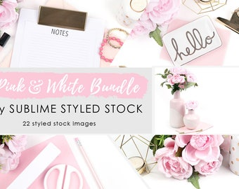 Styled stock photography / bundle / 22 Styled Images / Stock Photos / Instagram / Social Media Images / Branding / Feminine / Pink and White