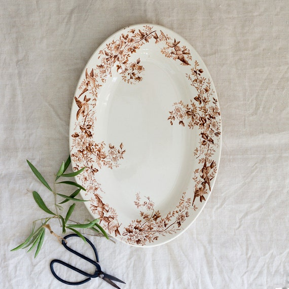 French Spring Birds Transferware Platter