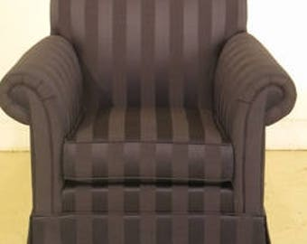 43266e ethan allen blue striped upholstered club chair
