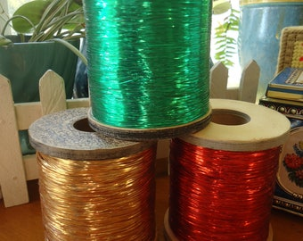 Vintage Lurex Metallic Thread Large Factory Spool Choice of Red Green Or Gold Perfect for Christmas Crafts One Spool Your Choice of Color