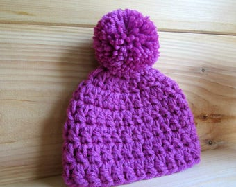 Baby Hat Pom Pom Crochet Baby Hat  Newborn to 3 Months 0-3 Months