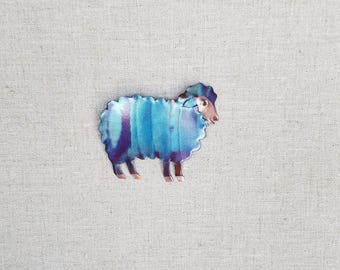 Flame painted copper sheep, pin