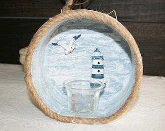 Basket bowl, maritime, Maritime decoration, gull, lighthouse, tealight, decoration
