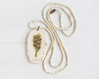 Real Limonium Flower  Pendant, Real Flower Jewelry, Romantic Pendant, Botanical Jewelry, Preserved Flower, Nature Jewelry, Nature Pendant