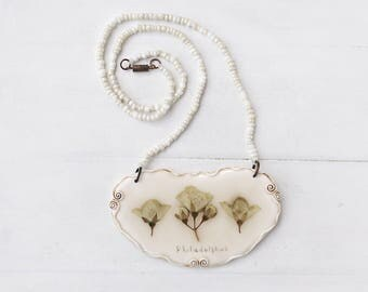 Real Philadelphus  Necklace, Real Flower Necklace, Romantic Necklace, Botanical Jewelry, Preserved Flower, Nature Jewelry, Nature Necklace