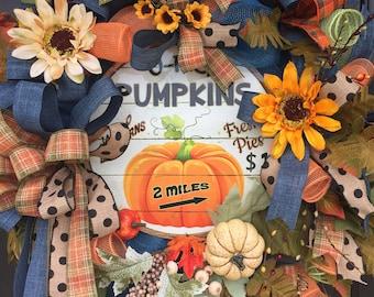Fall Wreath, Sunflower Wreath, Fall Front Door Wreath, Fall Deco Mesh Wreath, Pumpkin Wreath, sassy Doors Wreaths,