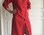 Red and Black Stripe Button Up Shirt Dress Women's m