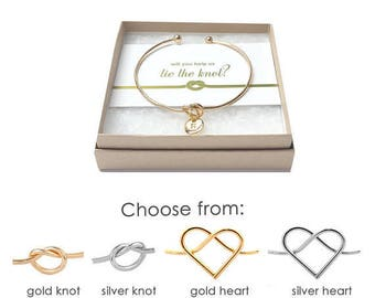 Silver/Gold Knot Bracelet- Will You Help Me Tie the Knot- Knot Bracelet Bridesmaid- Bridesmaid Proposal Bracelet- Will You Be My Bridesmaid