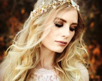 Whimsical Bridal Hair Vine, Wedding Hair Accessory, Bridal Hair Wreath, Gold Hair Crown, Pastel Flowers