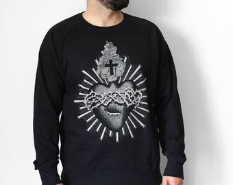 Sacred heart sweashirt, unisex sweatshirt, ex voto print, man's sweatshirt with heart, tattoo print, religious clothing, steampunk clothing