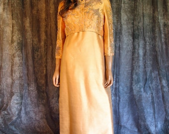 Vintage 60s Peach Silk Shantung Beaded Gown Matching Beaded Jacket Vintage 1960s Jackie O Wedding Bridal Dress Dress and Jacket Set M