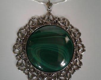 Malachite Cabochon Pendant Necklace