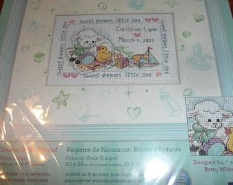 Dimensions Baby Hugs Baby Dreams Birth Record Cross Stitch Kit