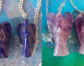 2 Hand Carved Solid AMETHYST or LAPIS Lazuli Angel  Dowsing PENDULUMS, with 2 Velvet Storage Pouches and Chains, Divination